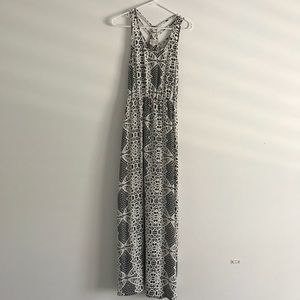 Parker Black and white pattern silk maxi dress S